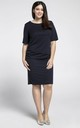 Navy Blue U-Neck Short Sleeves Dress by Bergamo