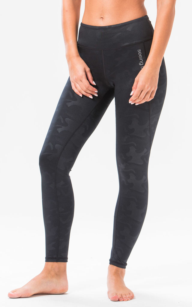 ST Black Camo Performance Leggings by Seeing Thngs