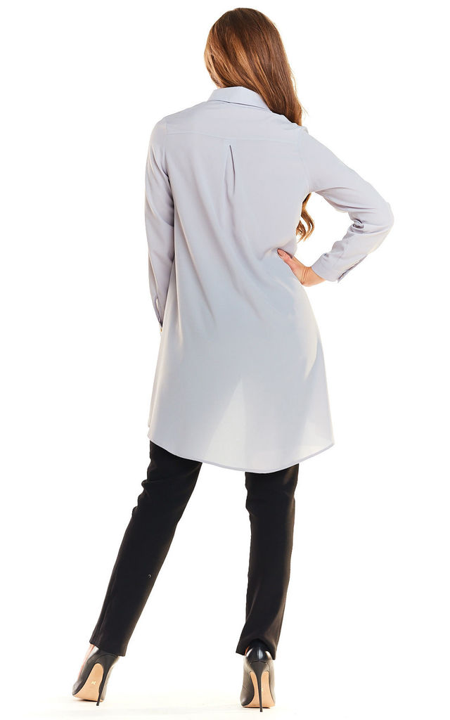 Grey Long Back Loose Shirt by AWAMA