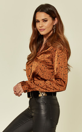 Rust Print Satin Crop Shirt by Pretty Darling