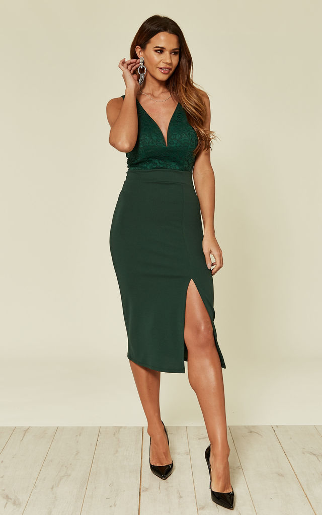0b5ea32fb3a Isabella V Neck Plunge Neck Lace Forest Green Midi Dress | WalG ...