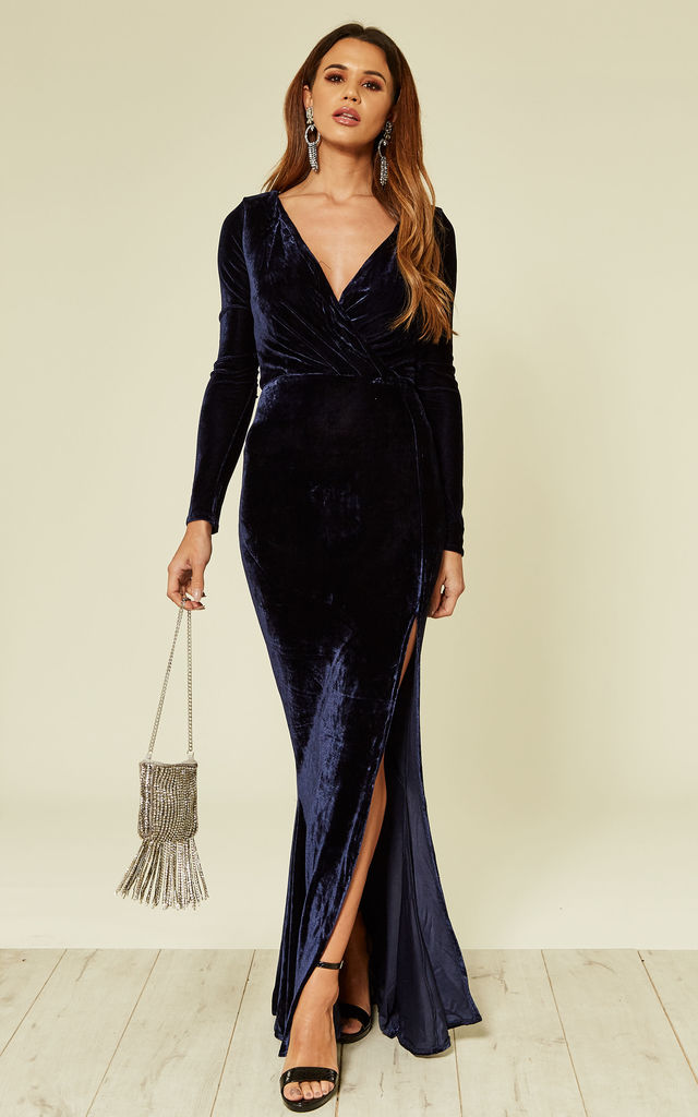 acb119db3a Lexie Long Sleeve Thigh Slit Navy Blue Velvet Maxi Dress by Collectif  Clothing