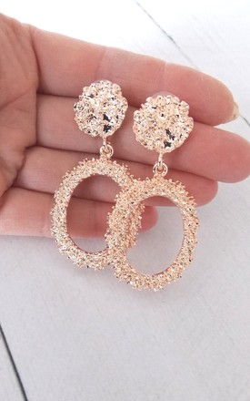 Rose Gold Oval Hoop Drop Earrings by Olivia Divine Jewellery Product photo