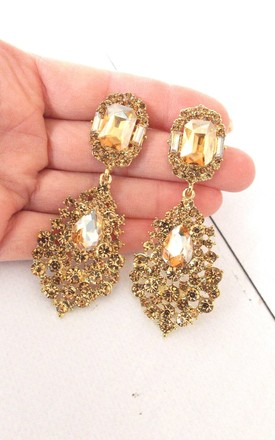 Gold Topaz Crystal Jewelled Statement Earrings by Olivia Divine Jewellery Product photo