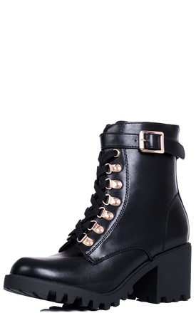 WELWYN Cleated Sole Lace Up Block Heel Ankle Boots - Black Leather Style by SpyLoveBuy