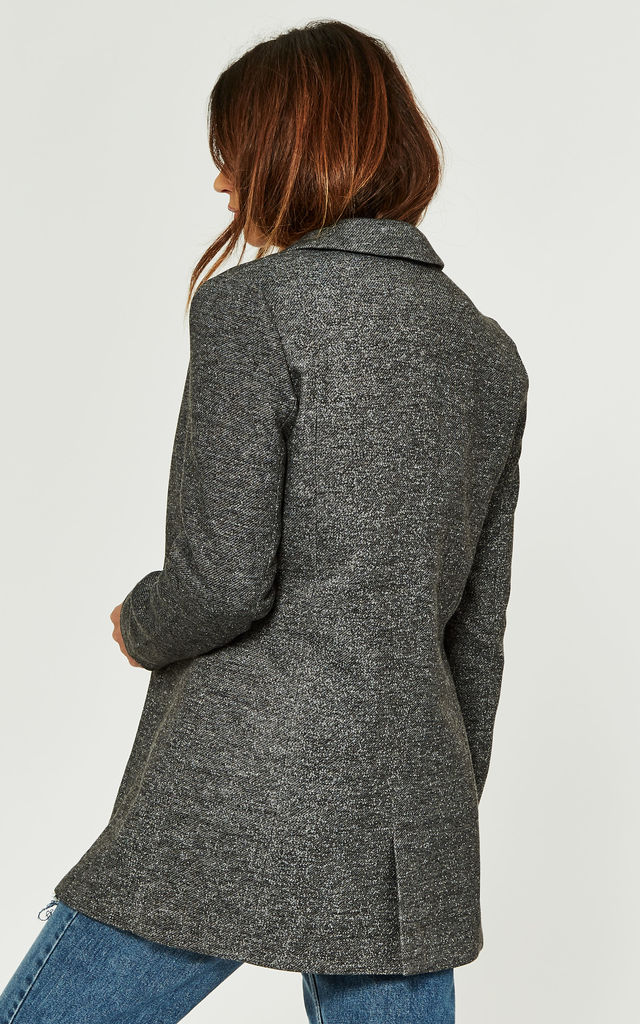 Grey Melange Long Sleeve Longline Blazer by Noisy May