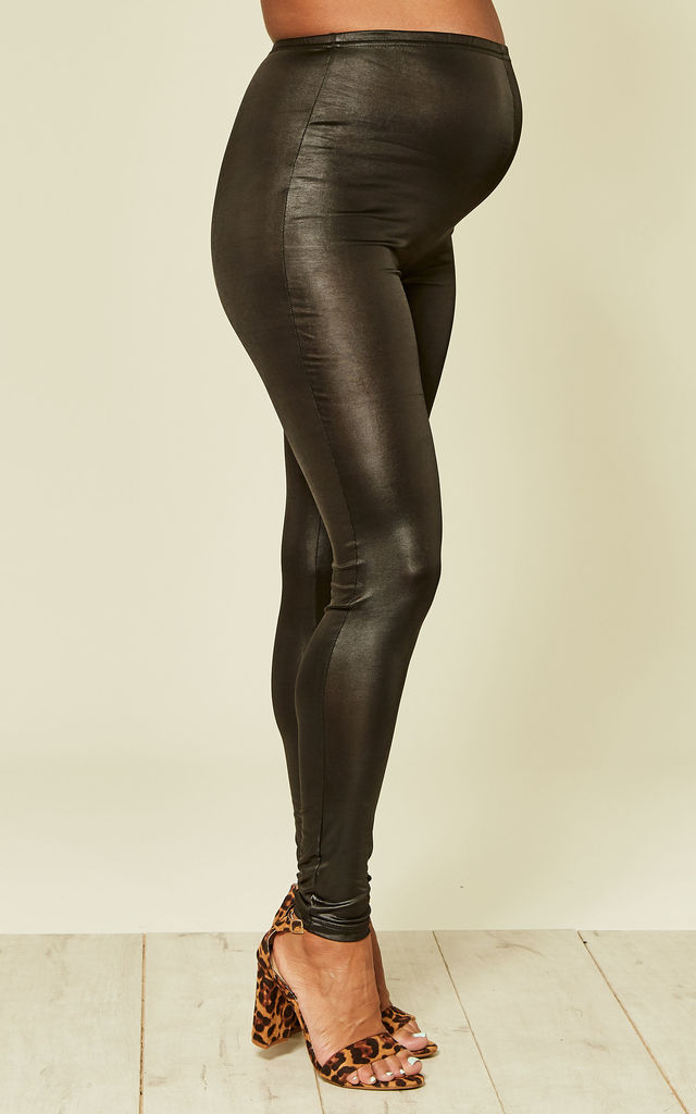 Black Leather Look Maternity Leggings by Mamalicious