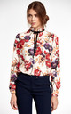 Blouse with stand-up collar and ribbon on the neck - flowers by so.Nife