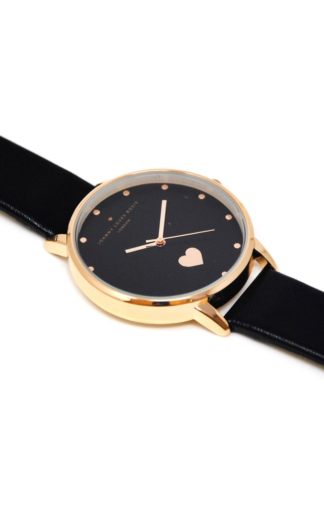 Black & Gold Heart Watch by Johnny Loves Rosie