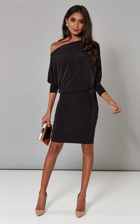 Black Batwing Off The Shoulder Dress by Pleat Boutique Product photo