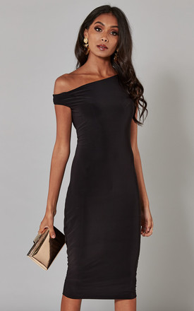 53ee1cdbd929 Black Off The Shoulder Midi Dress