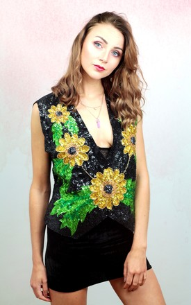 1980s vintage gold floral sequin embellished waistcoat by Colour Me Vintage