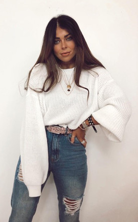 Becky Balloon Sleeve Jumper White by Fearlesss