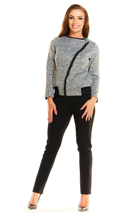 Long Sleeve Jacket with Zip in Melange Grey by AWAMA