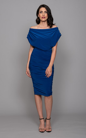 Oxygen Dress – Off Shoulder Ruched Bodycon – Cobalt by ATOM LABEL Product photo