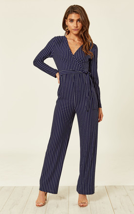 9769ba41d7c Navy Pinstripe Long Sleeved Jumpsuit by ANGELEYE ...
