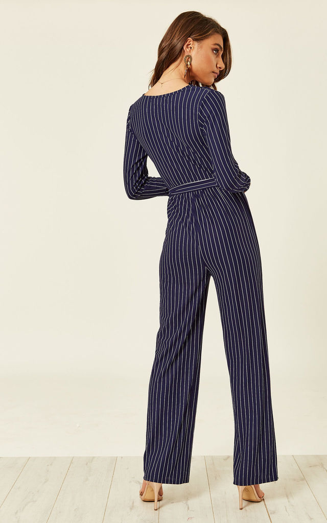 ac9f2ca9a52 Navy Pinstripe Long Sleeved Jumpsuit by ANGELEYE