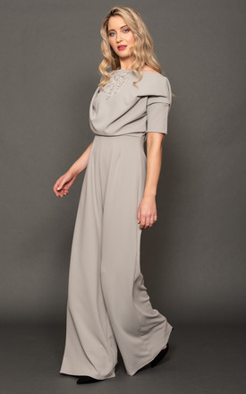 Silver Grey Pleat Shoulder Jumpsuit - Lima by ATOM LABEL