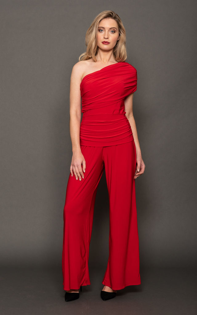 Red One Shoulder Jumpsuit - Rhodium by ATOM LABEL