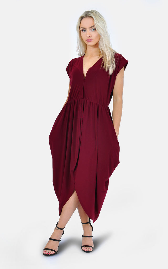 3b43f0275c ... Burgundy V-neck side drape midi dress by The Left Bank ...