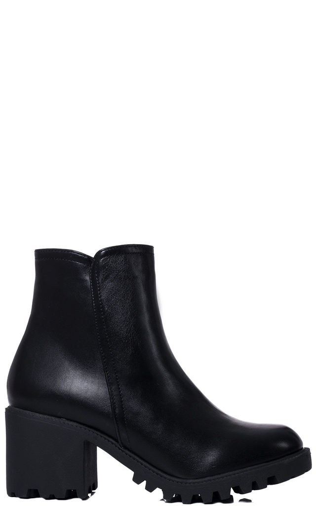 SELENIA Zip Block Heel Ankle Boots Shoes - Black Leather Style by SpyLoveBuy
