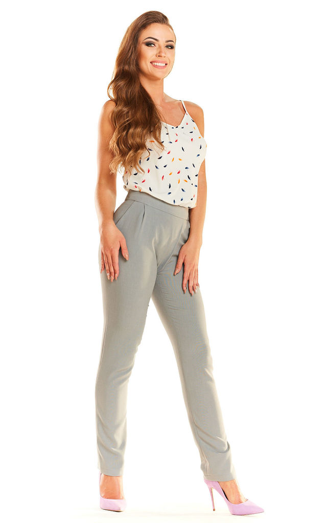 Grey Elegant Waisted Trousers by AWAMA