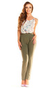 Khaki Elegant Waisted Trousers by AWAMA