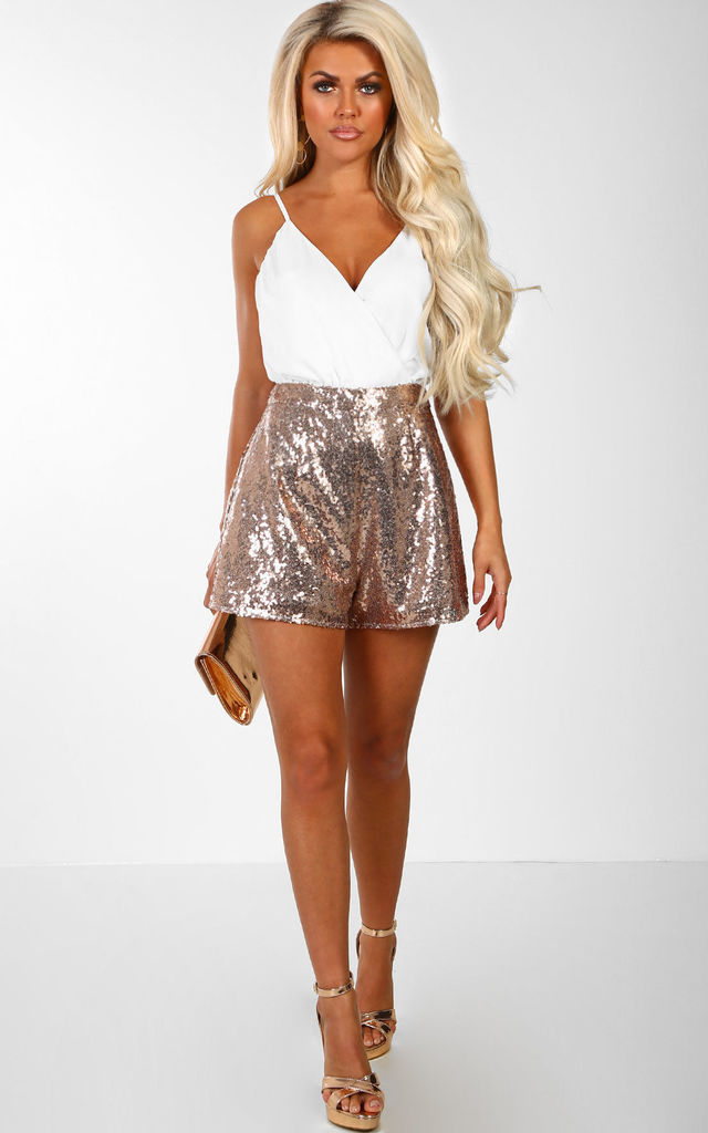 Easy Does It White And Rose Gold Sequin Wrap Front Playsuit by Pink Boutique