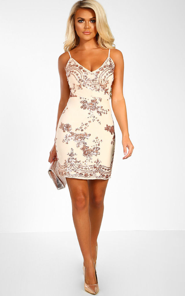 af04c396b99 Razzle Dazzle Nude Sequin Mini Dress