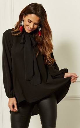 Black Pussy Bow Blouse by John Zack Product photo