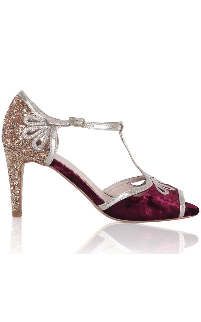 Esme T-Bar Heels in Mulberry Red Crushed Velvet & Gold Glitter by Perfect Shoes