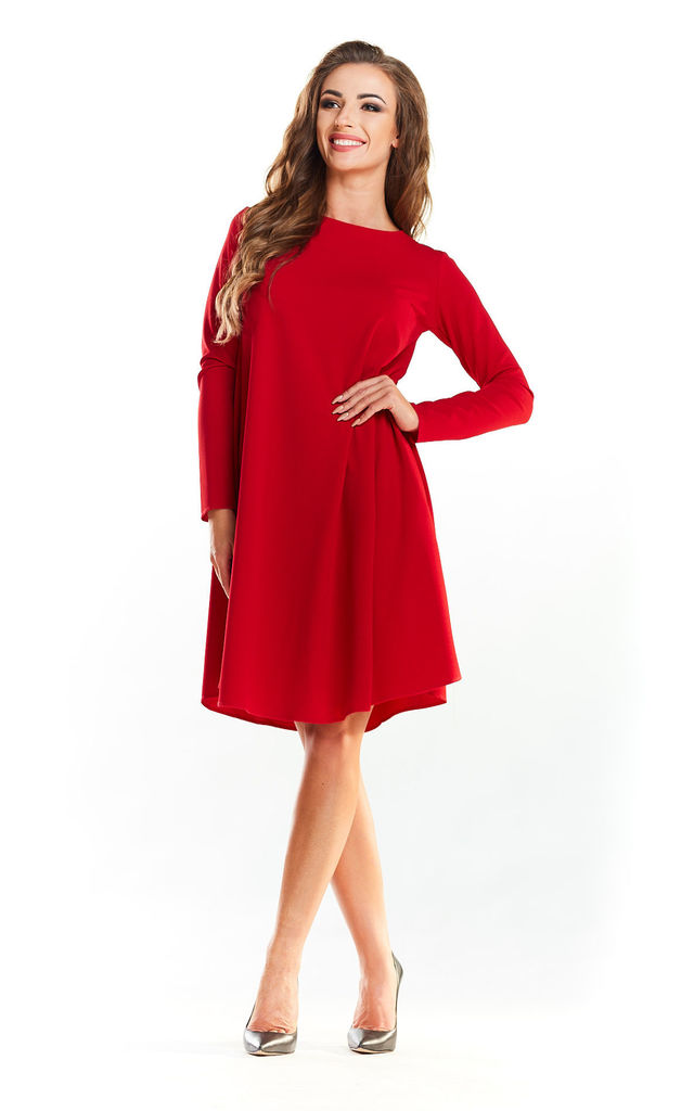 f9cf205403c0 Red Long Sleeve Shift Dress by AWAMA