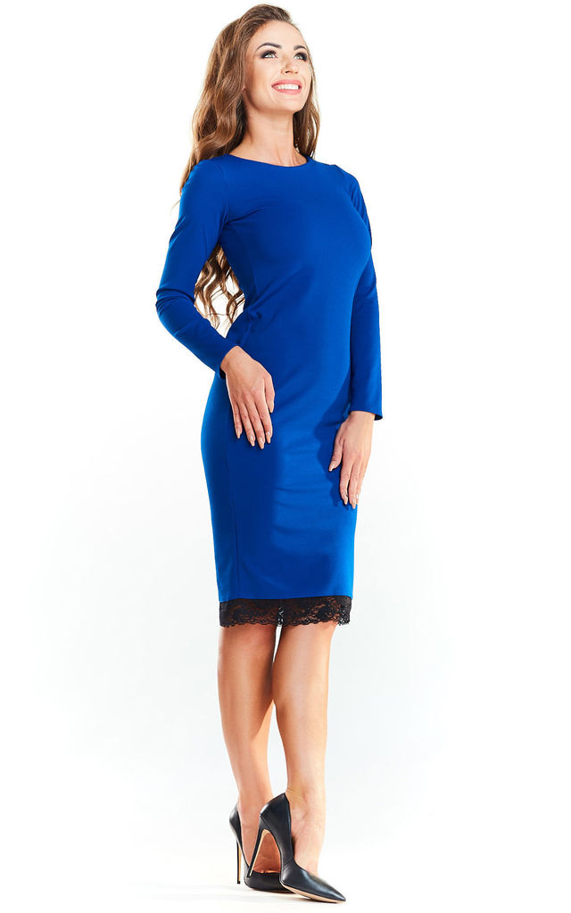 Blue Pencil Dress With Lace Hem by AWAMA
