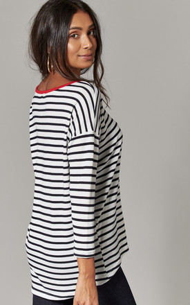 Cloud Stripe Top with contrasting red neckline by ONLY