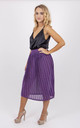 Pleated High Waisted Metallic Midi Skirt in Purple by MISSTRUTH