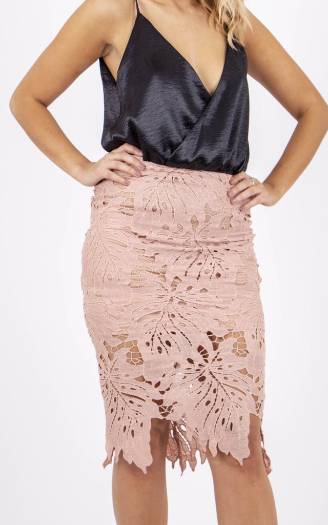 Scallop Midi Skirt With Floral Print by MISSTRUTH