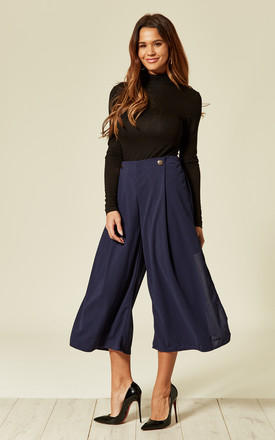 Blue Pleated High Waist Cropped Trouser with Buttons by Oeuvre