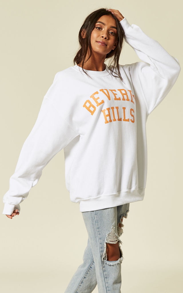 BEVERLY HILLS slogan SWEATER- WHITE Cosy Oversized Baggy Lounge Gym Long Sleeve Pullover Knitwear Jumper T-Shirt Tops by Pharaoh London