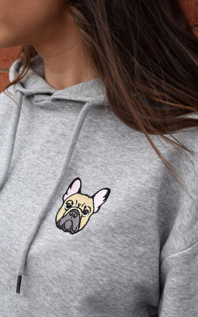 French Bulldog Oversized Hoodie in Grey by Twisted Saint