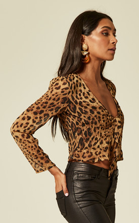 IT MUST BE LOVE - LEOPARD PRINT CHIFFON BLOUSE WITH FRONT TIE AND BOTTOM FRILL by Wyldr