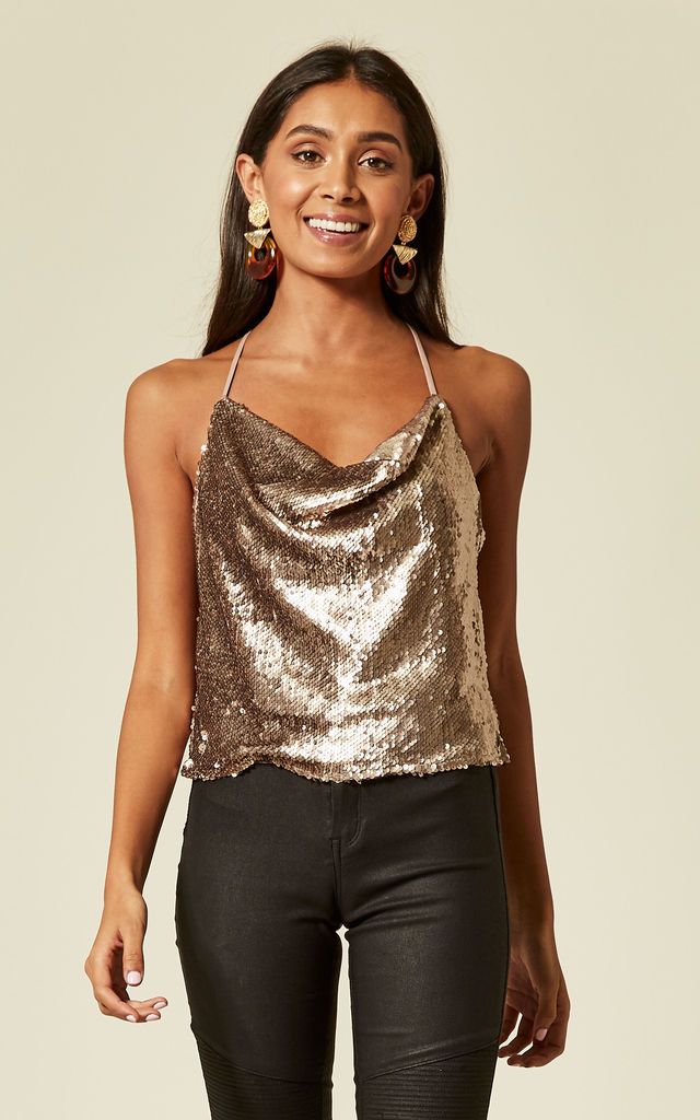 ALLURE - CHAMPAGNE MORNING SEQUIN CAMI TOP WITH COWL NECKLINE by Wyldr