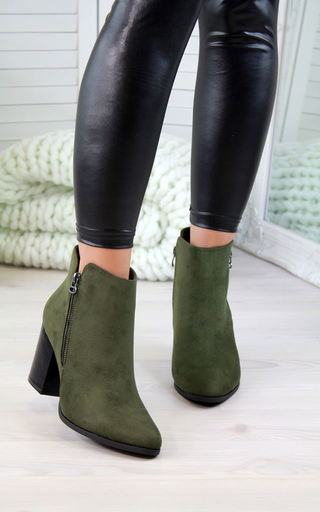 Green Zip Heeled Ankle Boots by Larena Fashion