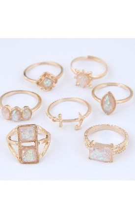 Gold Multi Shape Midi Ring Set by HAUS OF DECK