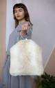 Cream Faux Fur Bag by Laurelle Woman