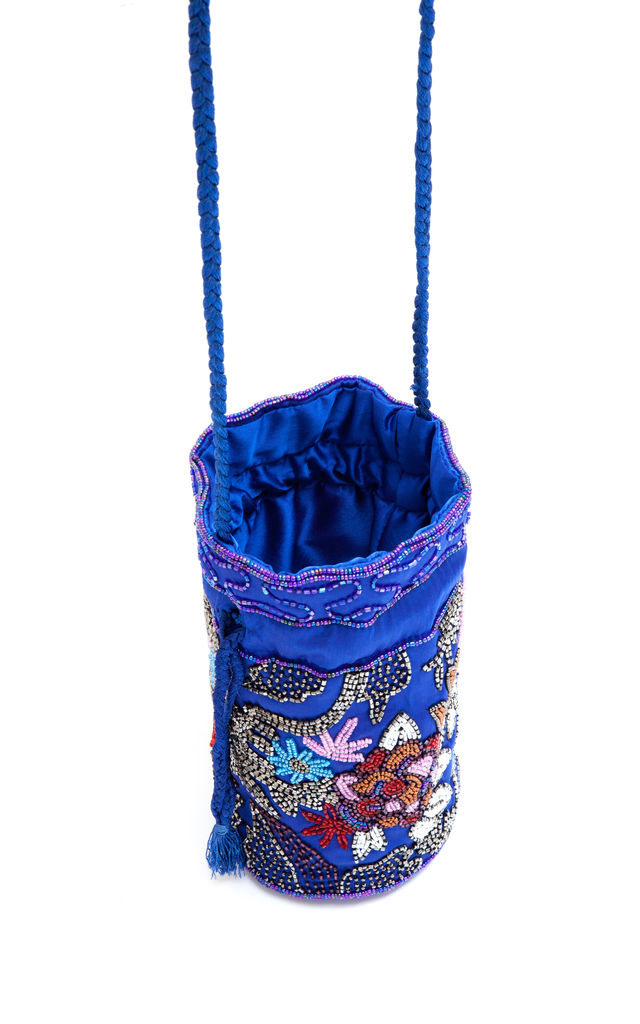 Floral Beaded Sequin Pouch Bag in Cobalt Blue by My Sister Sandi