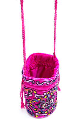 Floral Beaded Sequin Pouch Bag in Pink by My Sister Sandi
