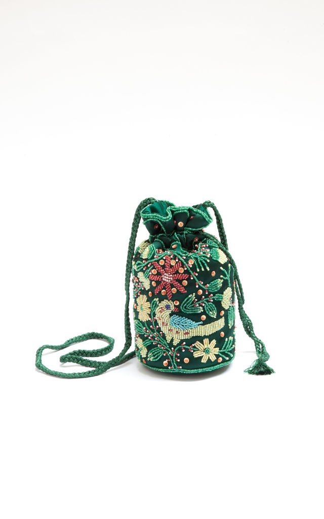 Floral Beaded Sequin Pouch Bag in Green by My Sister Sandi
