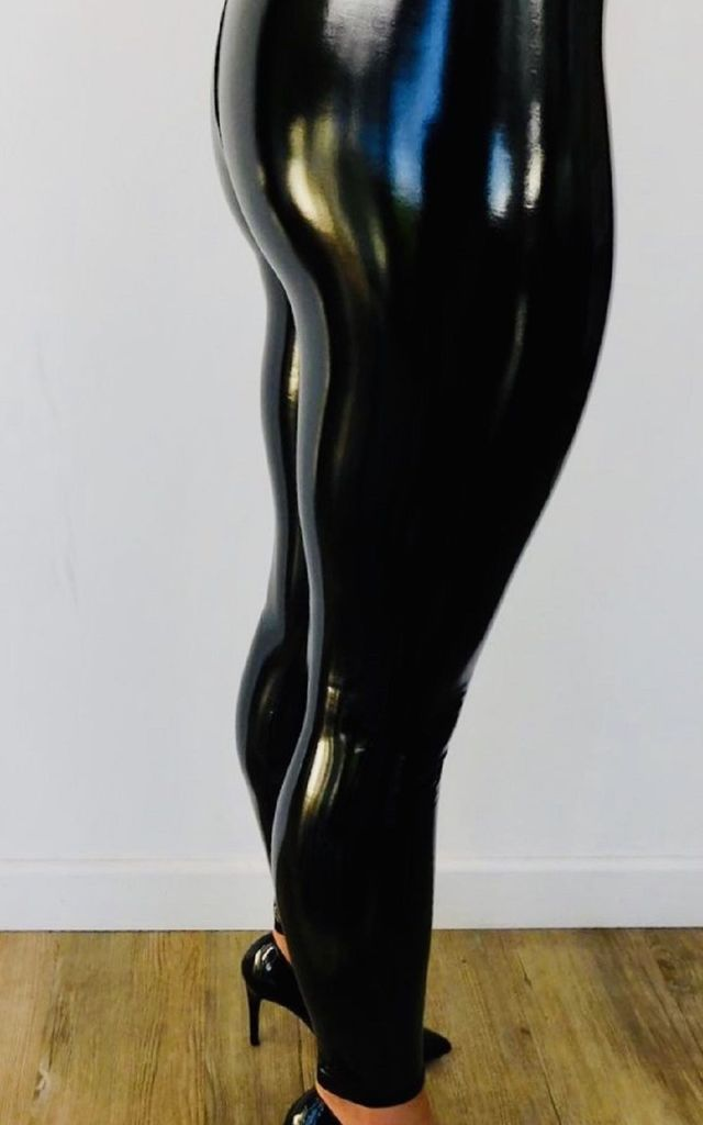 Shiny Vinyl Trousers in Black by Style Mode