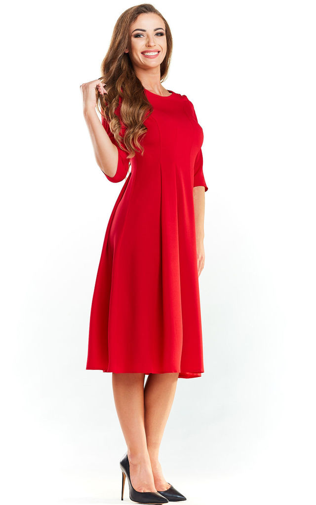 Red Flared Midi Dress by AWAMA