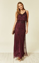 Keeva Maxi Bridesmaids Wedding Dress (Bordeaux) by Lace & Beads
